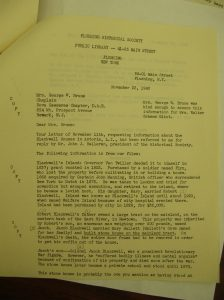Flushing Historical Society Letter (Part 1)
