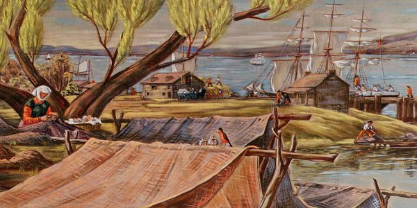 About 1795. Richard De Cantillon, Tobias Stoutenburgh's son-in-law, supervises workmen unloading rum, sugar and molasses at Stoutenburgh Landing. A woman mends shad nets, logs are poled to shore for the saw mill, and a hay boat is loaded.