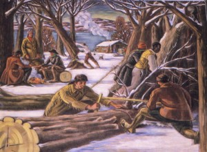Mural in the lobby of Post Office in Hyde Park,  first known as Stoutenburgh, New York  depicts Jacobus Stoutenburgh clearing the land.